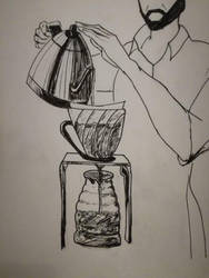 brewing coffee by Deathilya