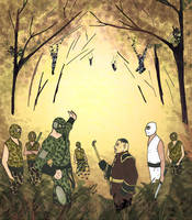 Spider Ninjas, forest meeting by LavenderBlade