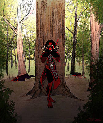 Melinda Fox forest encounter by LavenderBlade