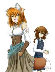 Komugiko and Yakugashi (color) by fredrin