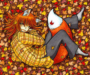 Warm Foxgirl Cuddling in Leaves by fredrin