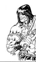 Conan the Barbarian DnD sketchbook closeup by SpiderGuile