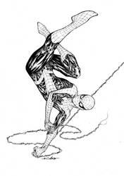 Spider-Man Upisde down swinging by SpiderGuile