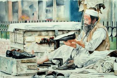 Watercolor - Afghan Cobbler by zarrarkhan