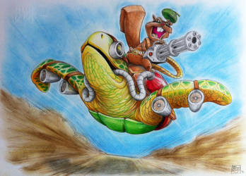 Jet Turtle 'n Gatling Squirrel by CaptainJJD
