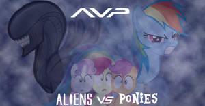 Aliens Vs Ponies Wallpaper by Shadowpredator100