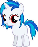 Vinyl Scratch Filly-Red Eyes by MoongazePonies