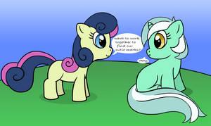 Lyra meets BonBon by MoongazePonies