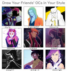 Draw your friends' OCs in your style by Ayane45