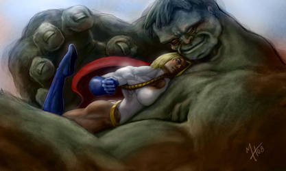Power Girl vs The Hulk by Howietzer