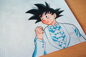 Tegami Art No.30 .:Son Goku (marriage suit):. by SakakiTheMastermind