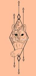Gometric Cat tattoo by Thagomizer89