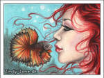 Fishing for kisses ACEO by Zindy