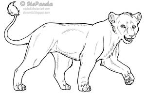 Free LineArt Adult Lioness by StePandy