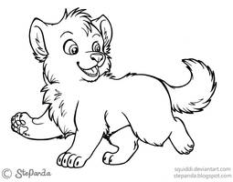 Free LineArt Puppy Wolf by StePandy
