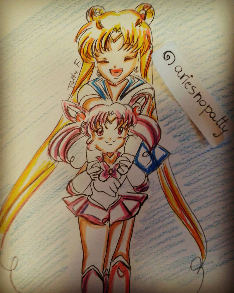 Sailor moon and Sailor chibi moon by ariesnopatty