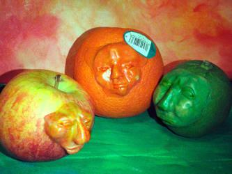 fruit faces by LacedUpIllustration