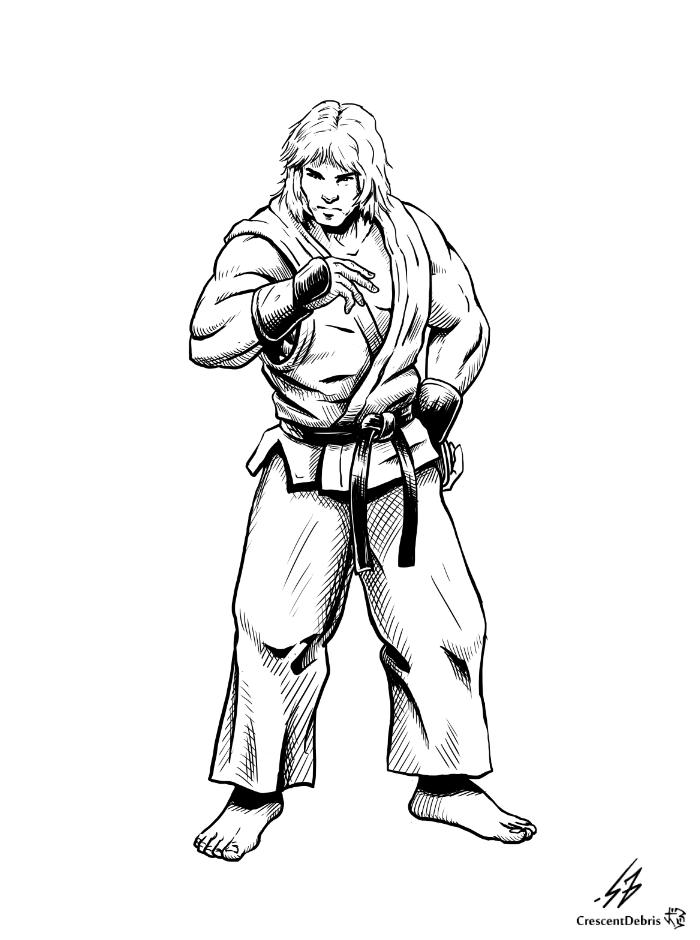 STREET FIGHTER II: Ken (LINES) by CrescentDebris