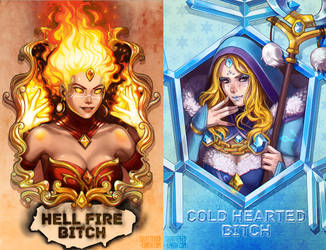 Dota 2 Sisters Lina the Slayer and Crystal Maiden by Shattered-Earth