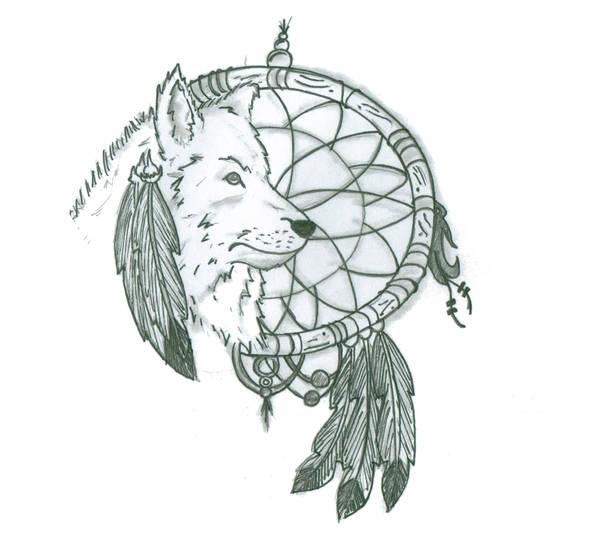 Dreamcatcher And Wolf Tattoo Design By Push It Art On Deviantart