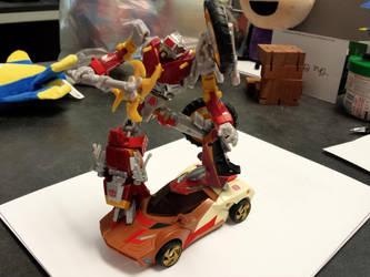Scrapheap riding Chromedome by MechaTron04