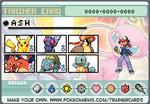 Ash Ketchum Kanto Pokemon trainer card by lightyearpig