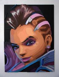 Sombra, Overwatch scroll saw portrait by markhizio