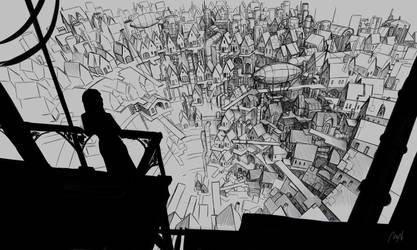 Steampunk City Sketch by MilanVasek