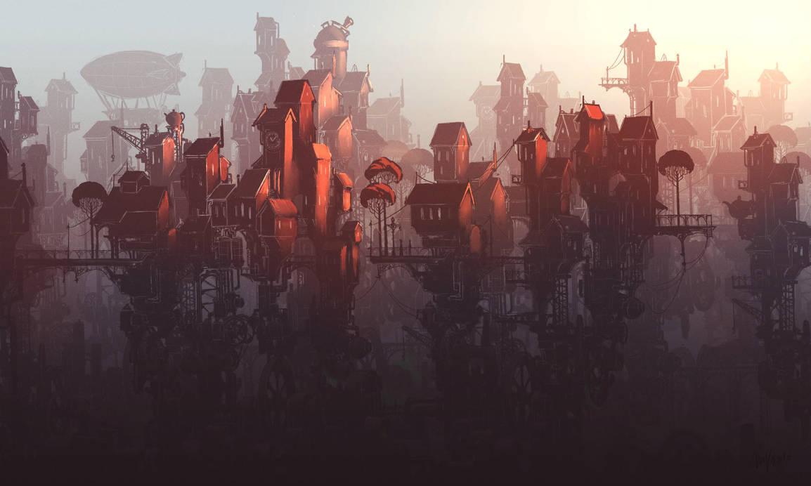 Steampunk town sketch by MilanVasek