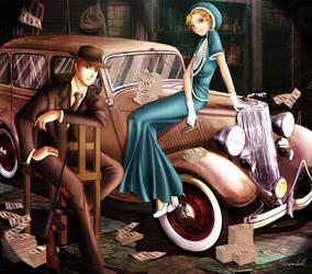 Commission: Bonnie and Clyde by Rusembell