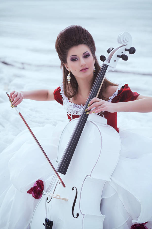Beautiful Brunette In A Dress With Cello By Black Bl00d On Deviantart