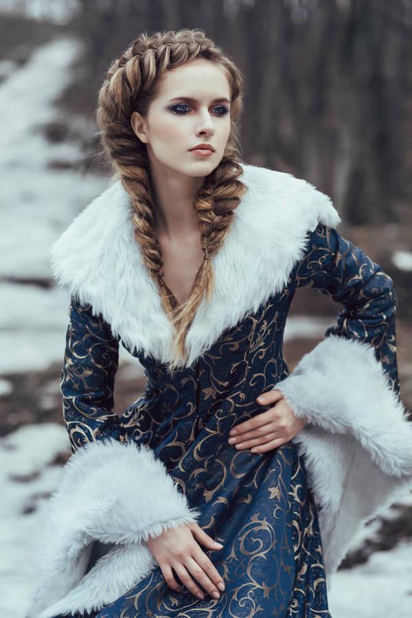 The woman in blue coat walking in forest by Black-Bl00d on DeviantArt