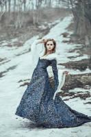 The woman in blue coat walk by Black-Bl00d