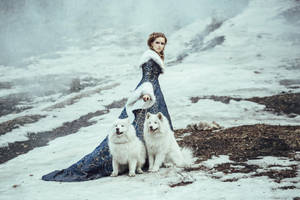 The woman in blue coat walk with a dog by Black-Bl00d