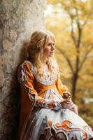 Beautiful lady with blond hairs in medieval dress by Black-Bl00d