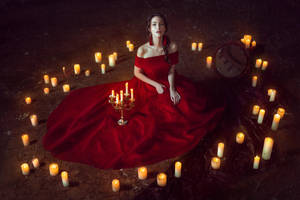 Lady with candles by Black-Bl00d