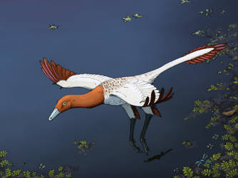 Flying Ornithomimosaur Commission by Inmyarmsinmyarms