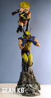 Wolverine and Ms. Marvel (painted) by seankylestudios