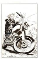 Wolverine on a chopper by J-WRIG
