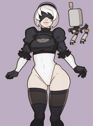 Nier Automata, 2B by SplashBrush