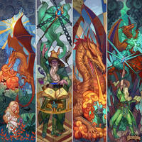Stained glass: Sorcerer vs Dragon by MilicaClk