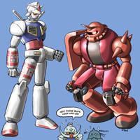 Super Robot Gundam and Zaku by torokun