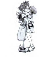 Kairi and Sora kissing by Jimmykudolover