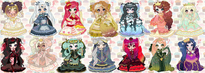 SEVEN DEADLY SINS AND HEAVENLY VIRTUES ADOPTABLES by minnoux