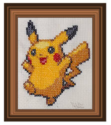 Pikachu cross stitch by Konoko1990
