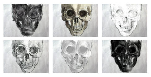 skull compo six by circle00