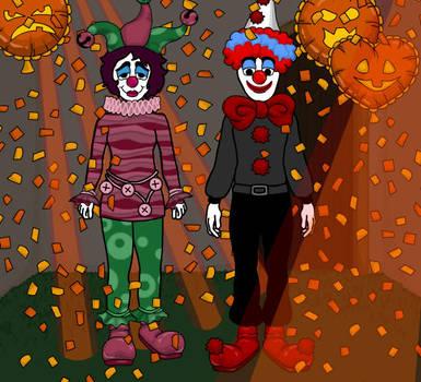 Clowns at Halloween Party by heatherleeharvey