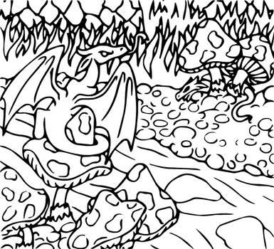 Dragon Colouring Page 1 by heatherleeharvey