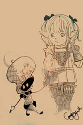 Lalafell and Mammet by Quartknee