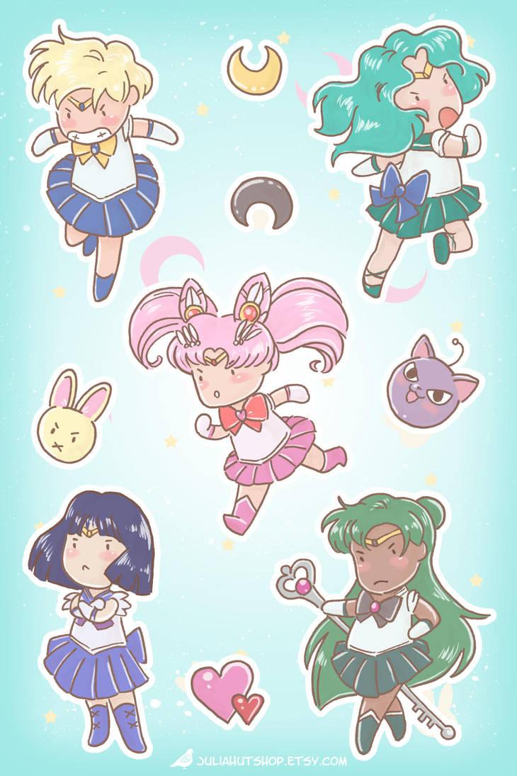 Sailor Moon Stickers - Outer Senshi by orinocou